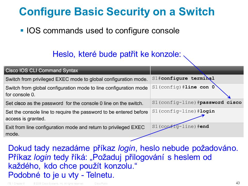 © 2006 Cisco Systems, Inc. All rights reserved.Cisco PublicITE 1 Chapter 6 43 Configure Basic Security on a Switch  IOS commands used to configure co