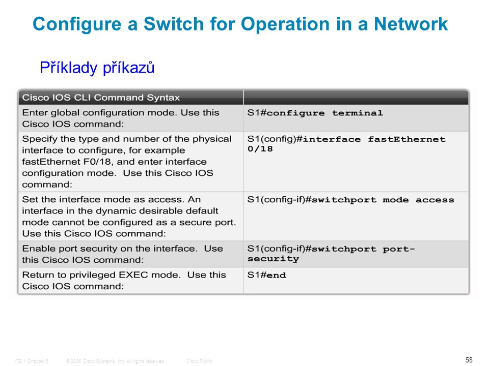 © 2006 Cisco Systems, Inc. All rights reserved.Cisco PublicITE 1 Chapter 6 58 Configure a Switch for Operation in a Network Příklady příkazů
