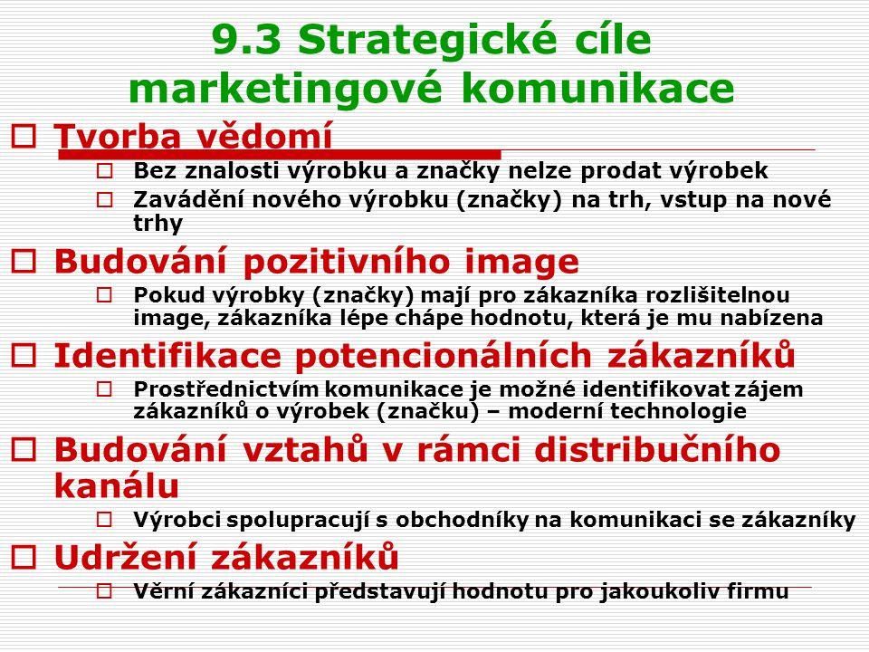 9.3 Strategické cíle marketingové komunikace  Tvorba vědomí  Bez znalosti výrobku a značky nelze prodat výrobek  Zavádění nového výrobku (značky) n