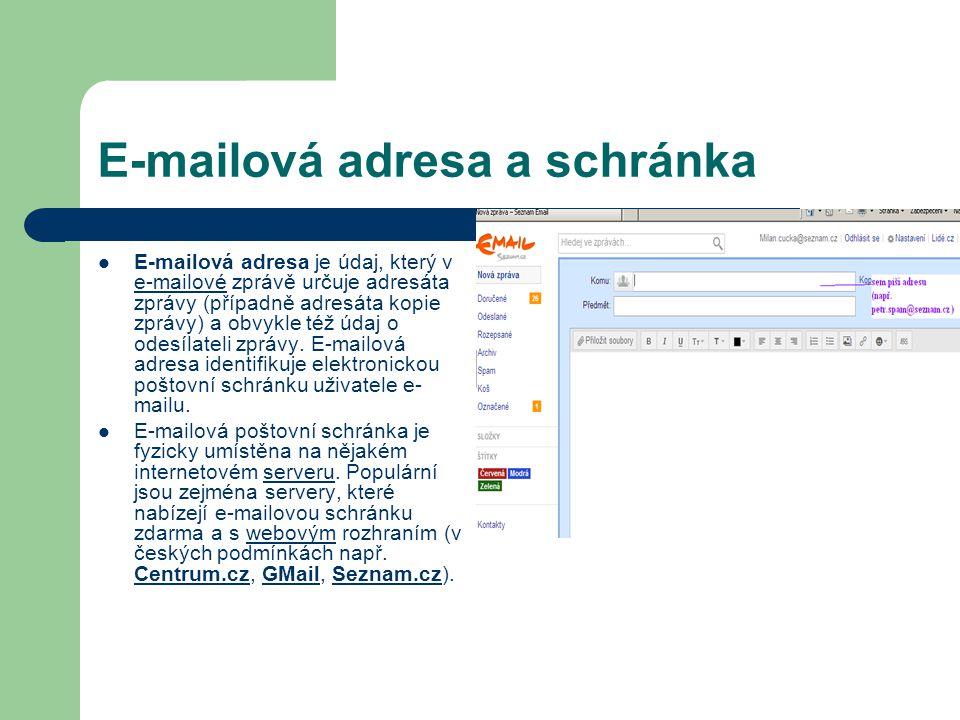 E-mailová adresa a schránka E-mailová adresa je údaj, který v e-mailové zprávě určuje adresáta zprávy (případně adresáta kopie zprávy) a obvykle též údaj o odesílateli zprávy.