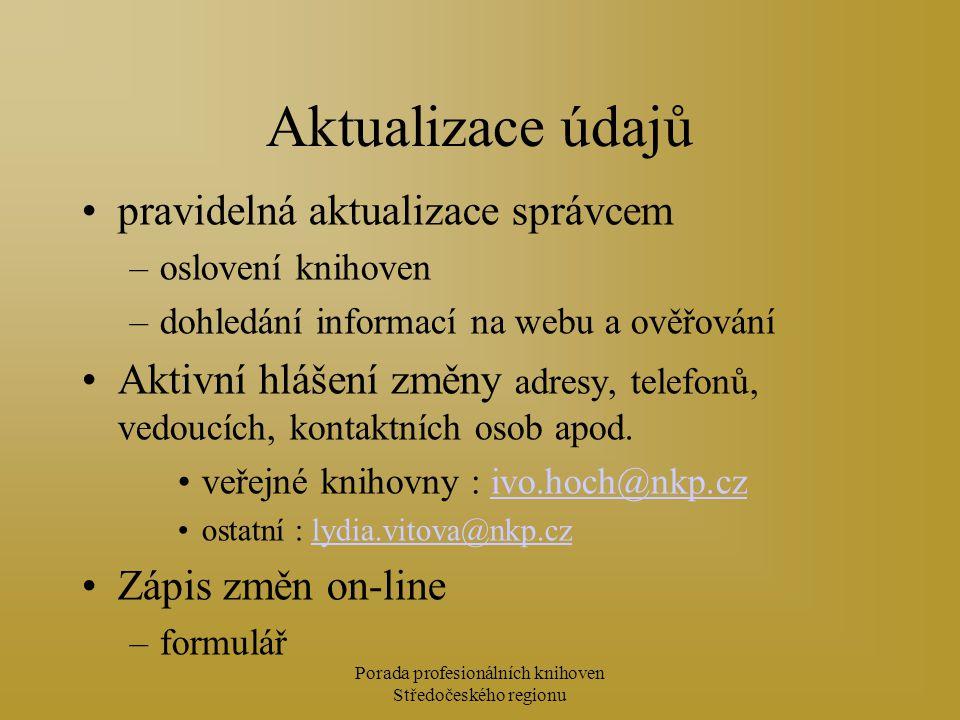 Porada profesionálních knihoven Středočeského regionu Aktualizace údajů pravidelná aktualizace správcem –oslovení knihoven –dohledání informací na webu a ověřování Aktivní hlášení změny adresy, telefonů, vedoucích, kontaktních osob apod.
