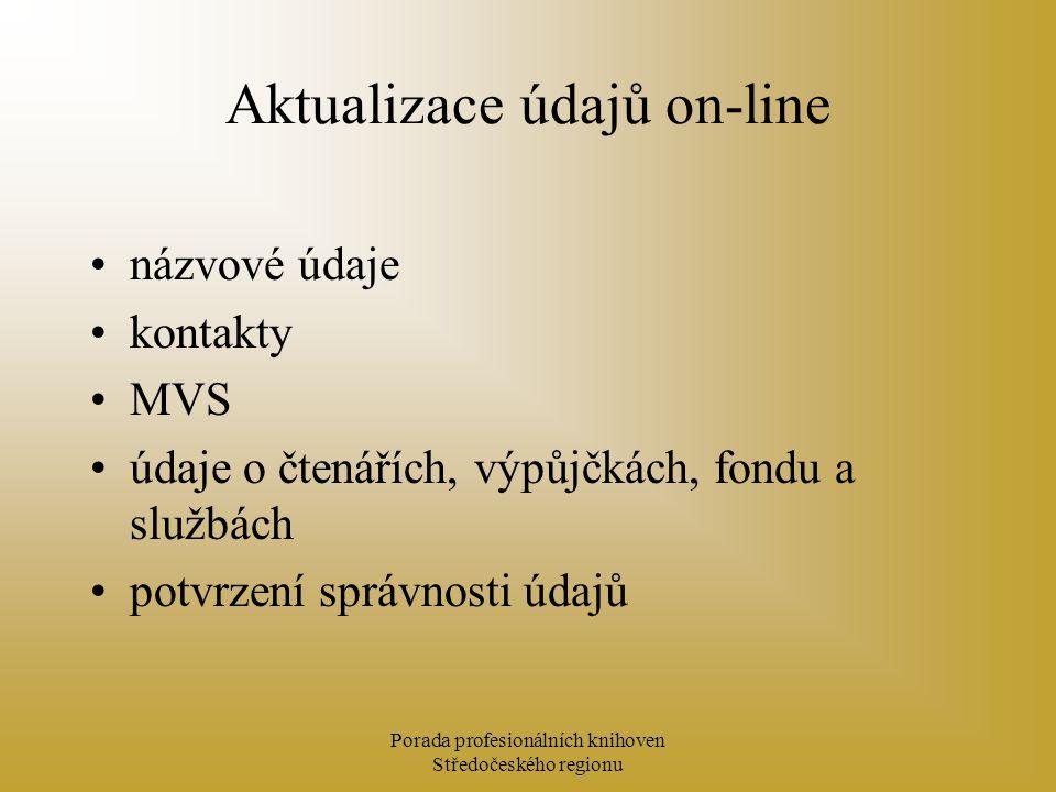 Porada profesionálních knihoven Středočeského regionu Aktualizace údajů on-line názvové údaje kontakty MVS údaje o čtenářích, výpůjčkách, fondu a službách potvrzení správnosti údajů