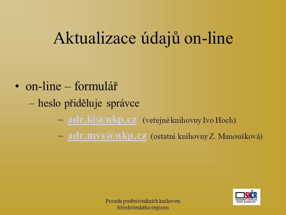 Porada profesionálních knihoven Středočeského regionu Aktualizace údajů on-line on-line – formulář –heslo přiděluje správce – adr.ki@nkp.cz (veřejné k
