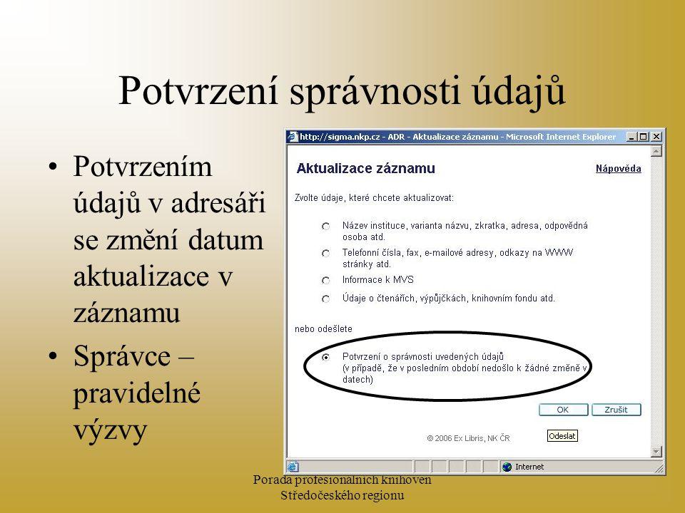 Porada profesionálních knihoven Středočeského regionu Potvrzení správnosti údajů Potvrzením údajů v adresáři se změní datum aktualizace v záznamu Správce – pravidelné výzvy