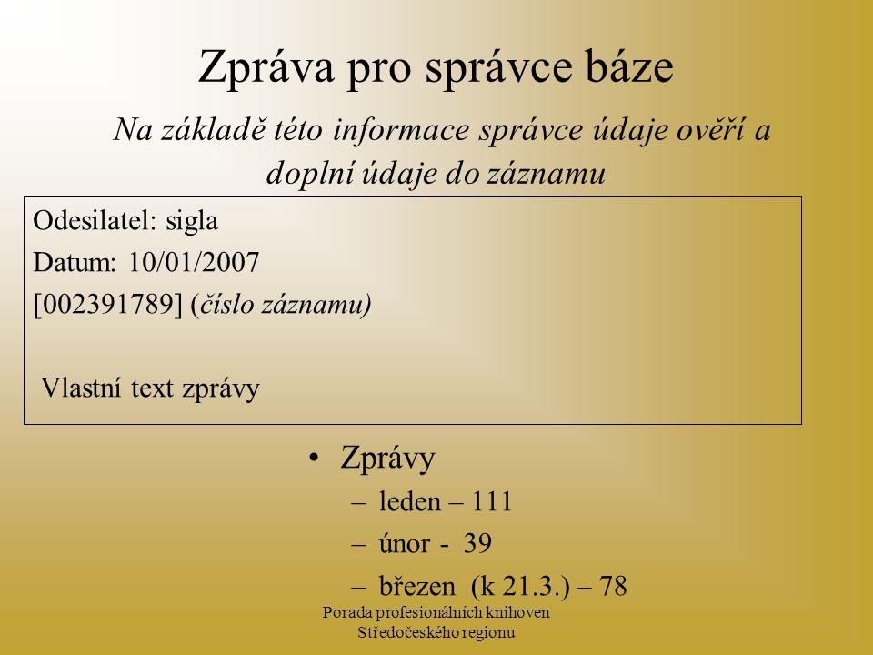 Porada profesionálních knihoven Středočeského regionu Zpráva pro správce báze Na základě této informace správce údaje ověří a doplní údaje do záznamu