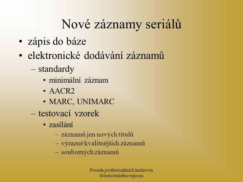 Porada profesionálních knihoven Středočeského regionu Nové záznamy seriálů zápis do báze elektronické dodávání záznamů –standardy minimální záznam AAC