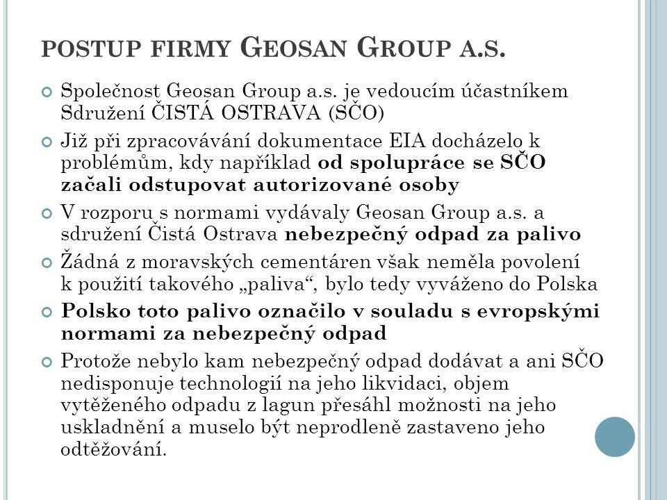 POSTUP FIRMY G EOSAN G ROUP A. S. Společnost Geosan Group a.s. je vedoucím účastníkem Sdružení ČISTÁ OSTRAVA (SČO) Již při zpracovávání dokumentace EI