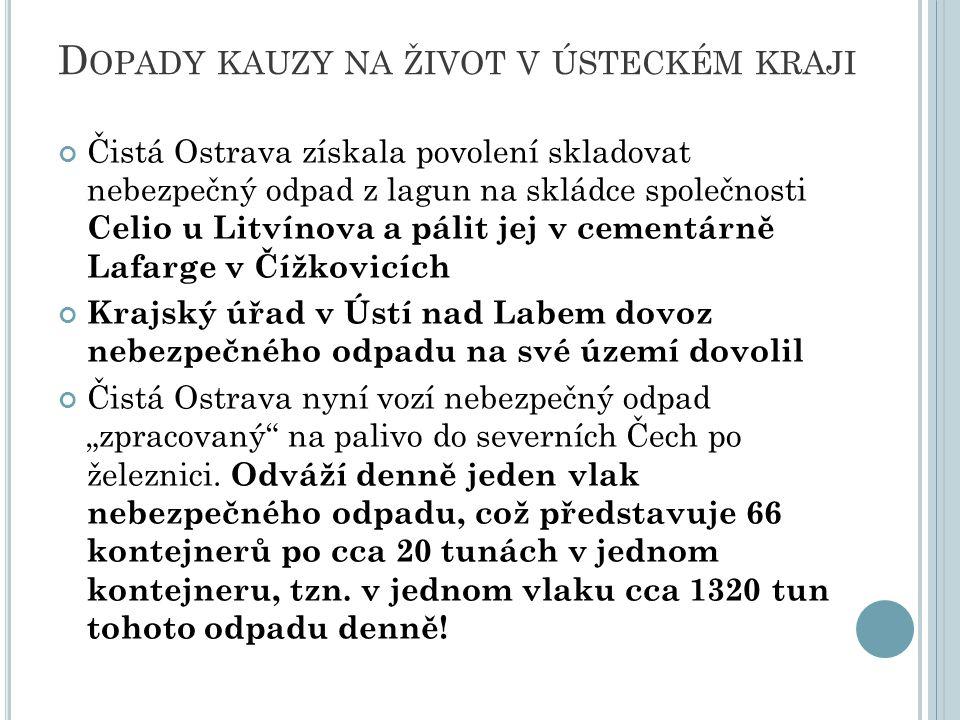 D OPADY KAUZY NA ŽIVOT V ÚSTECKÉM KRAJI Čistá Ostrava získala povolení skladovat nebezpečný odpad z lagun na skládce společnosti Celio u Litvínova a p