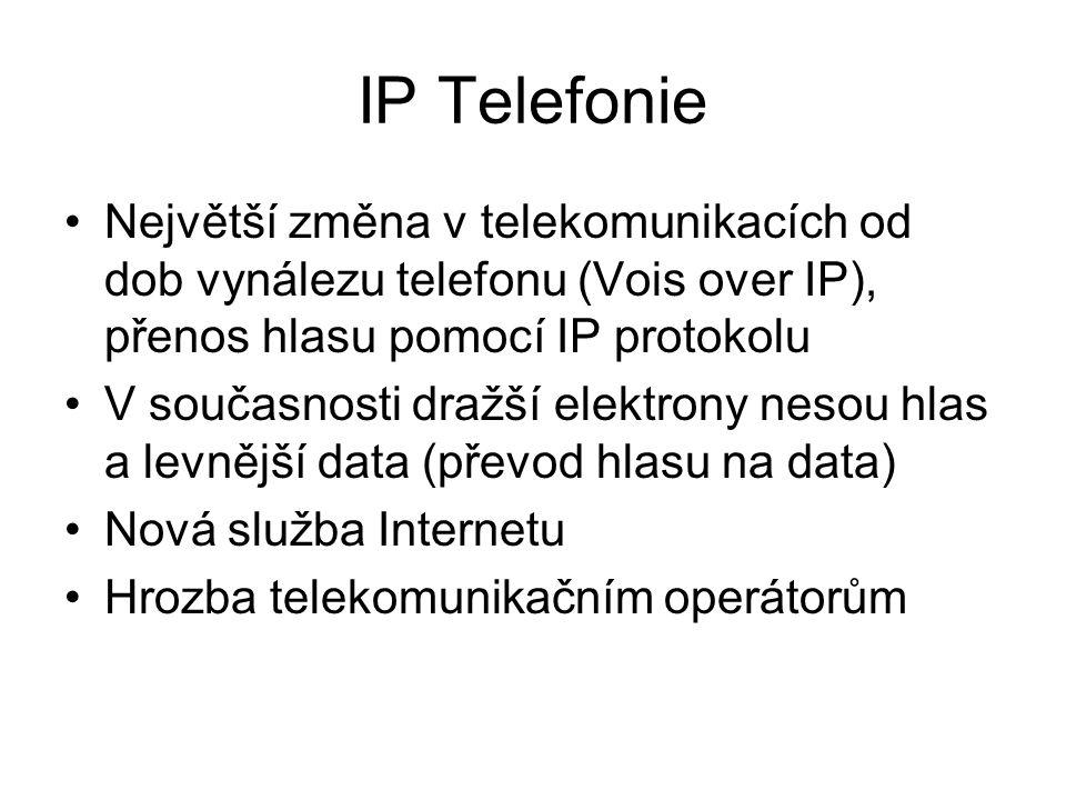 IP Telefonie Největší změna v telekomunikacích od dob vynálezu telefonu (Vois over IP), přenos hlasu pomocí IP protokolu V současnosti dražší elektrony nesou hlas a levnější data (převod hlasu na data) Nová služba Internetu Hrozba telekomunikačním operátorům