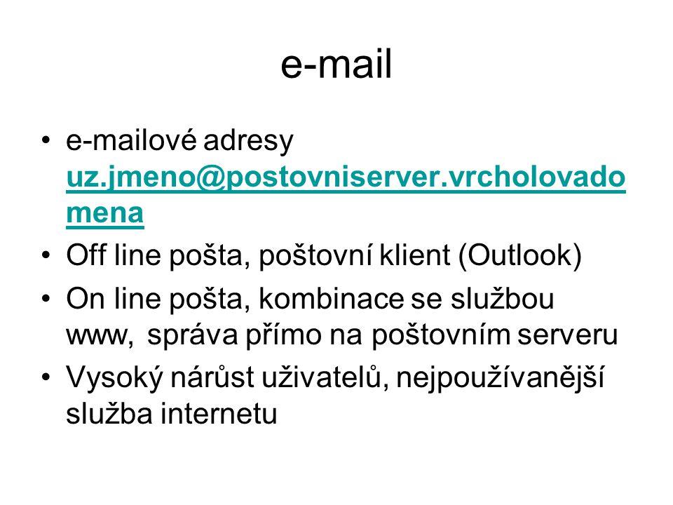 e-mail e-mailové adresy uz.jmeno@postovniserver.vrcholovado mena uz.jmeno@postovniserver.vrcholovado mena Off line pošta, poštovní klient (Outlook) On line pošta, kombinace se službou www, správa přímo na poštovním serveru Vysoký nárůst uživatelů, nejpoužívanější služba internetu
