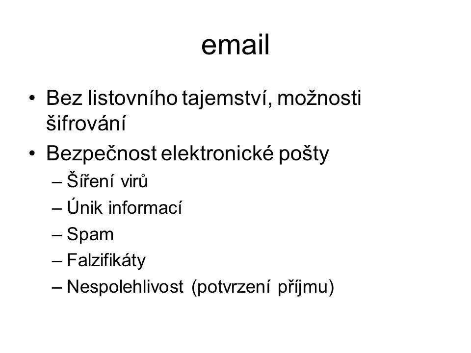 email Bez listovního tajemství, možnosti šifrování Bezpečnost elektronické pošty –Šíření virů –Únik informací –Spam –Falzifikáty –Nespolehlivost (potvrzení příjmu)
