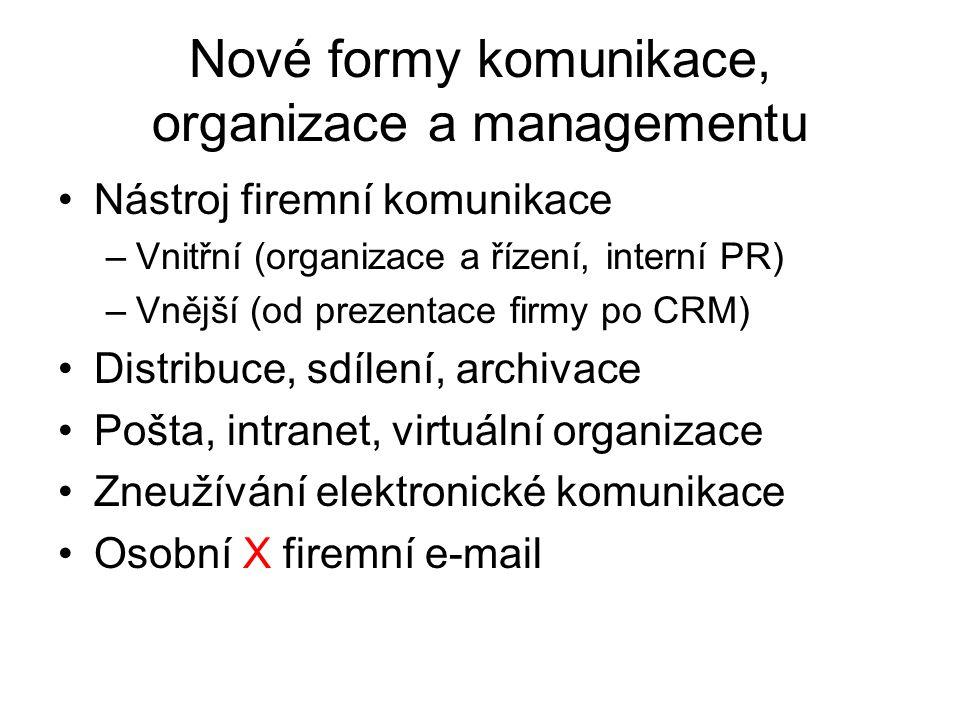 Nové formy komunikace, organizace a managementu Nástroj firemní komunikace –Vnitřní (organizace a řízení, interní PR) –Vnější (od prezentace firmy po CRM) Distribuce, sdílení, archivace Pošta, intranet, virtuální organizace Zneužívání elektronické komunikace Osobní X firemní e-mail