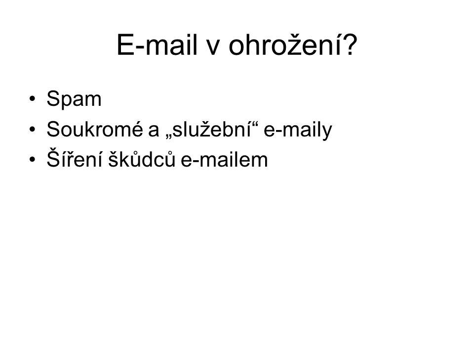 """E-mail v ohrožení Spam Soukromé a """"služební e-maily Šíření škůdců e-mailem"""