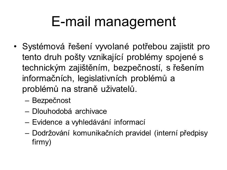 E-mail management Systémová řešení vyvolané potřebou zajistit pro tento druh pošty vznikající problémy spojené s technickým zajištěním, bezpečností, s řešením informačních, legislativních problémů a problémů na straně uživatelů.