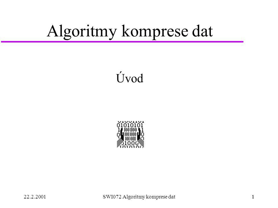 22.2.20011SWI072 Algoritmy komprese dat1 Algoritmy komprese dat Úvod