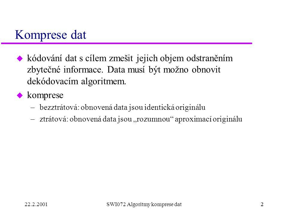 22.2.20012SWI072 Algoritmy komprese dat2 Komprese dat u kódování dat s cílem zmešit jejich objem odstraněním zbytečné informace. Data musí být možno o