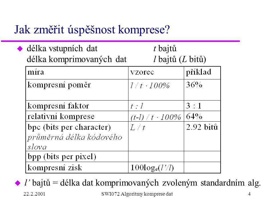 22.2.20014SWI072 Algoritmy komprese dat Jak změřit úspěšnost komprese? u délka vstupních datt bajtů délka komprimovaných datl bajtů (L bitů) u l' bajt