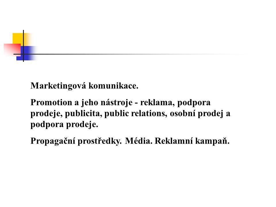 Marketingová komunikace. Promotion a jeho nástroje - reklama, podpora prodeje, publicita, public relations, osobní prodej a podpora prodeje. Propagačn