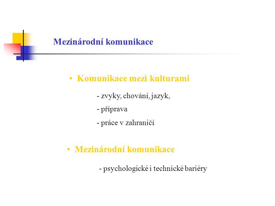 Mezinárodní komunikace Komunikace mezi kulturami - zvyky, chování, jazyk, - příprava - práce v zahraničí Mezinárodní komunikace - psychologické i tech