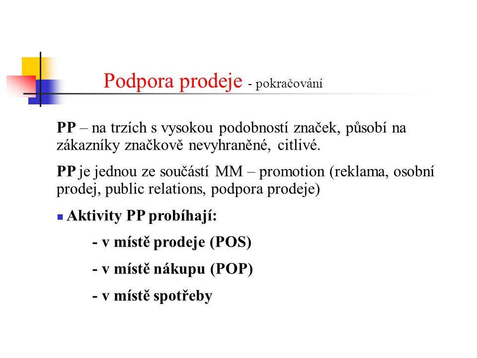 PP – na trzích s vysokou podobností značek, působí na zákazníky značkově nevyhraněné, citlivé. PP je jednou ze součástí MM – promotion (reklama, osobn