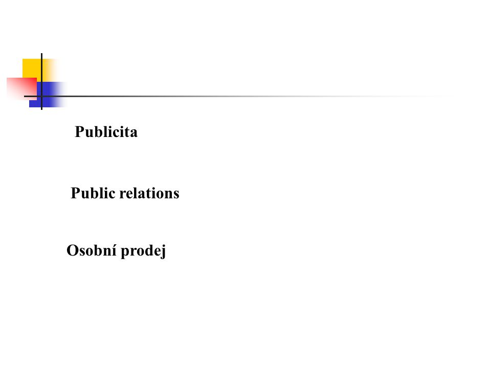Publicita Public relations Osobní prodej