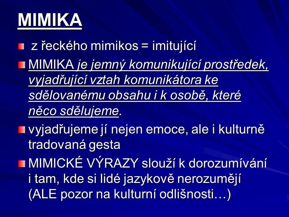 MIMIKA z řeckého mimikos = imitující z řeckého mimikos = imitující MIMIKA je jemný komunikující prostředek, vyjadřující vztah komunikátora ke sdělovan