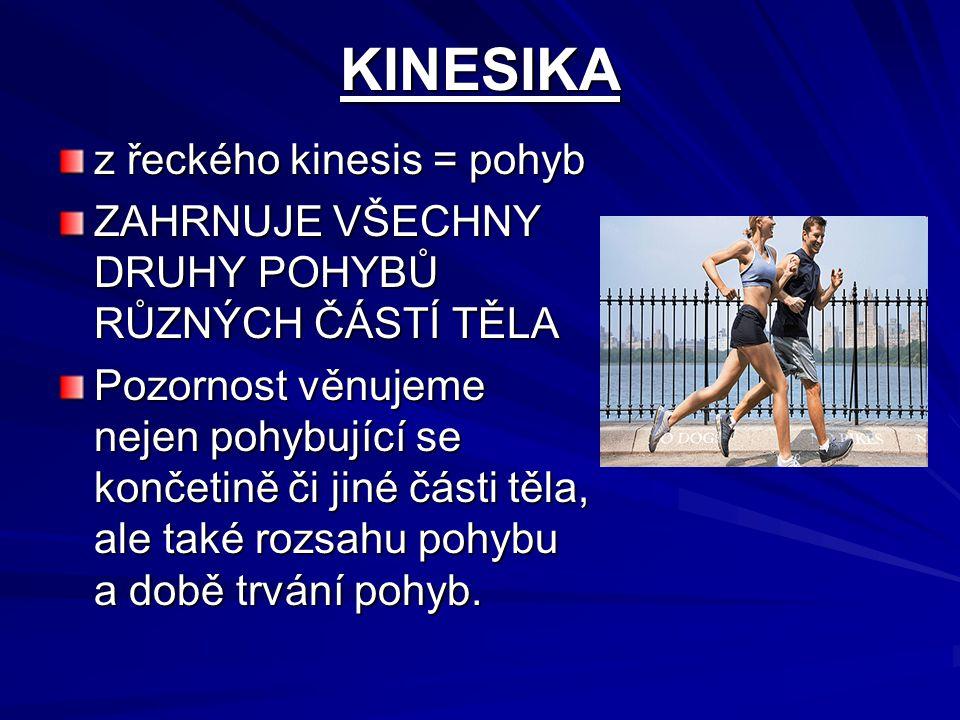 KINESIKA z řeckého kinesis = pohyb ZAHRNUJE VŠECHNY DRUHY POHYBŮ RŮZNÝCH ČÁSTÍ TĚLA Pozornost věnujeme nejen pohybující se končetině či jiné části těl