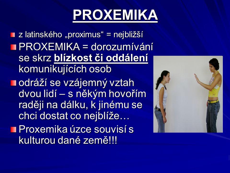 """PROXEMIKA z latinského """"proximus"""" = nejbližší PROXEMIKA = dorozumívání se skrz blízkost či oddálení komunikujících osob odráží se vzájemný vztah dvou"""
