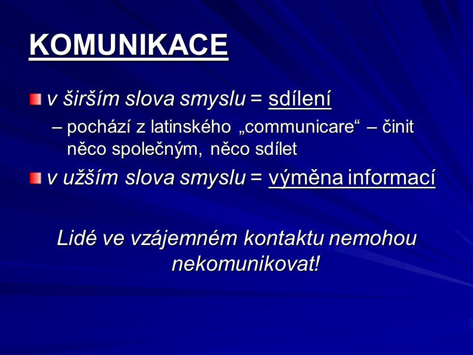"""KOMUNIKACE v širším slova smyslu = sdílení –pochází z latinského """"communicare"""" – činit něco společným, něco sdílet v užším slova smyslu = výměna infor"""