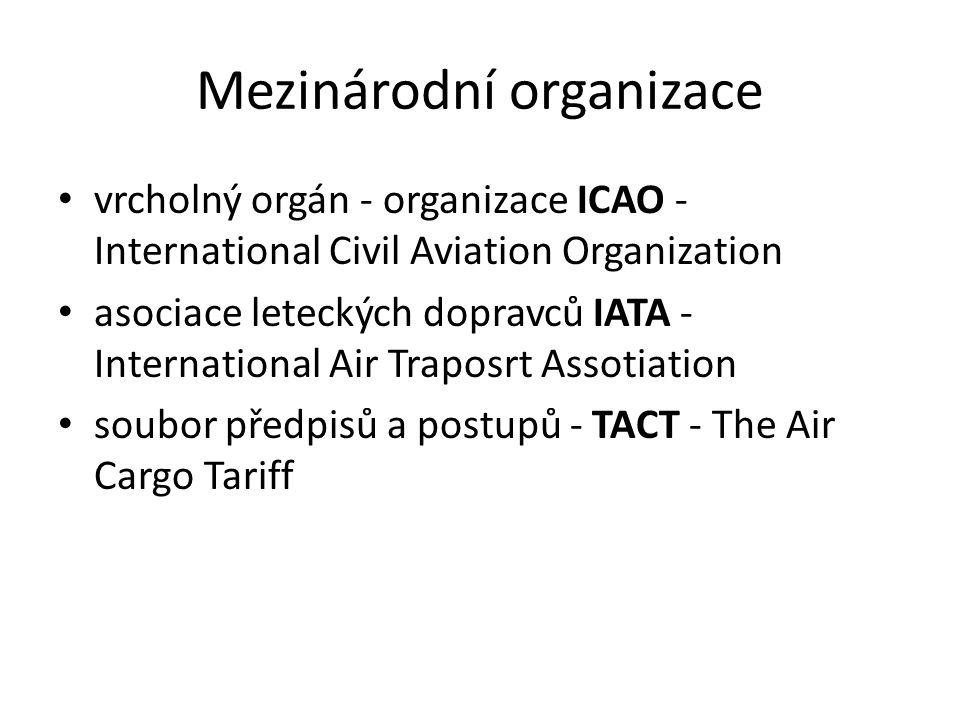 Mezinárodní organizace vrcholný orgán - organizace ICAO - International Civil Aviation Organization asociace leteckých dopravců IATA - International A