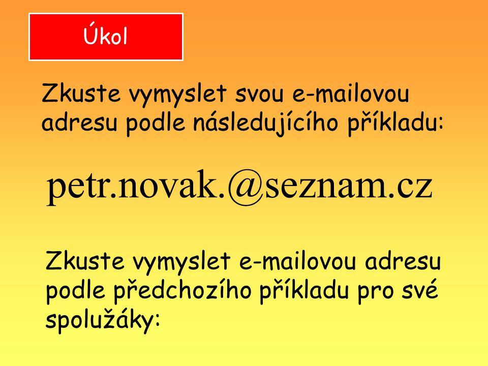 Úkol petr.novak.@seznam.cz Zkuste vymyslet svou e-mailovou adresu podle následujícího příkladu: Zkuste vymyslet e-mailovou adresu podle předchozího př