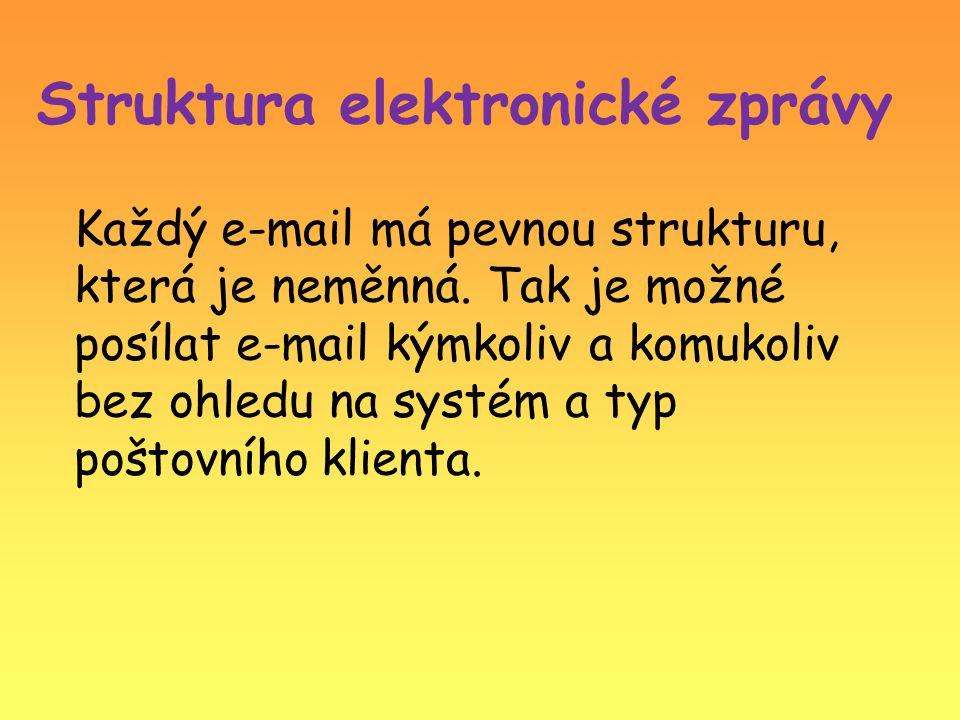 Struktura elektronické zprávy Každý e-mail má pevnou strukturu, která je neměnná. Tak je možné posílat e-mail kýmkoliv a komukoliv bez ohledu na systé