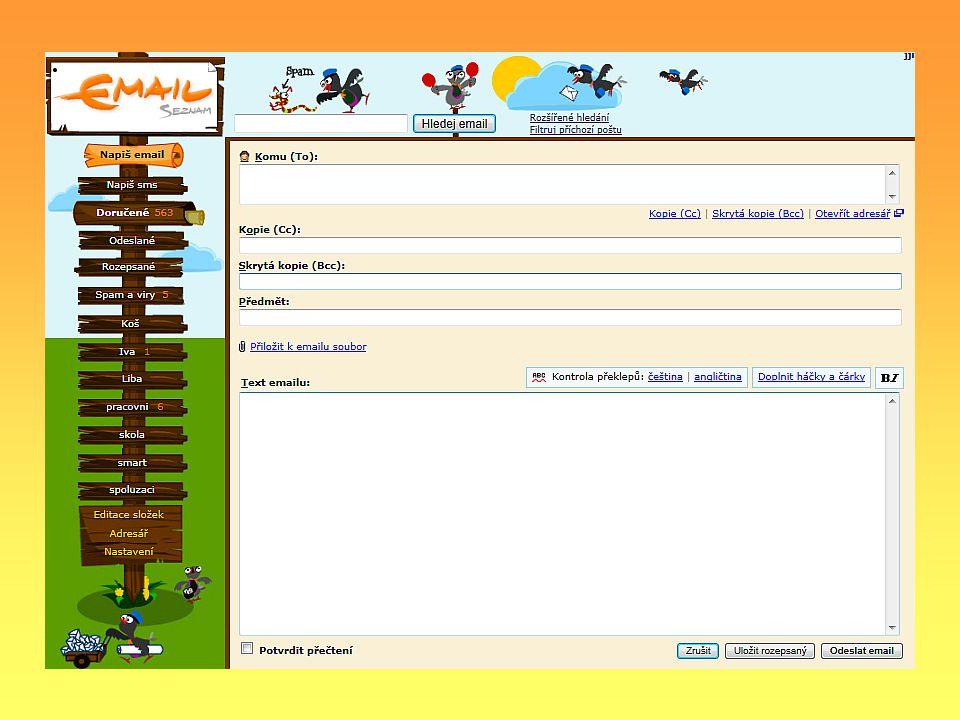 Odesílatel Příjemce Skrytá kopie Kopie Předmět Přílohy E-mailová adresa, odkud je e-mail odesílán E-mailová adresa uživatele, kterému e-mail dojde E-mailová adresa dalšího uživatele, kterému e-mail dojde Adresa uživatele, kterému e-mail také dojde, ale ostatním uživatelům se nikde nezobrazí.