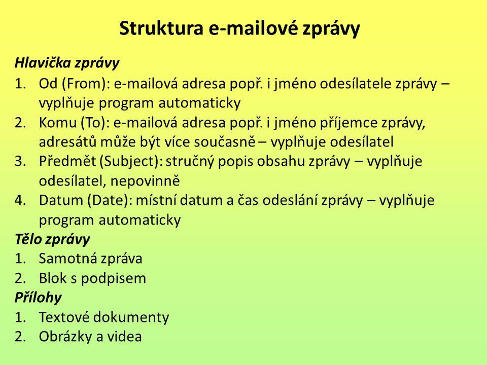Struktura e-mailové zprávy Hlavička zprávy 1.Od (From): e-mailová adresa popř.