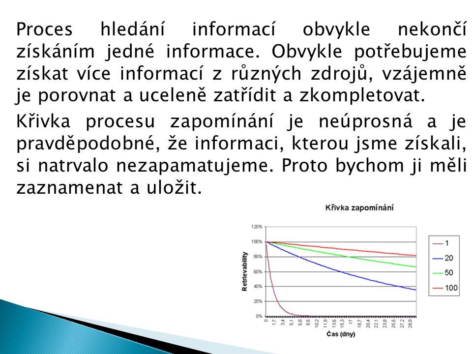 Proces hledání informací obvykle nekončí získáním jedné informace.