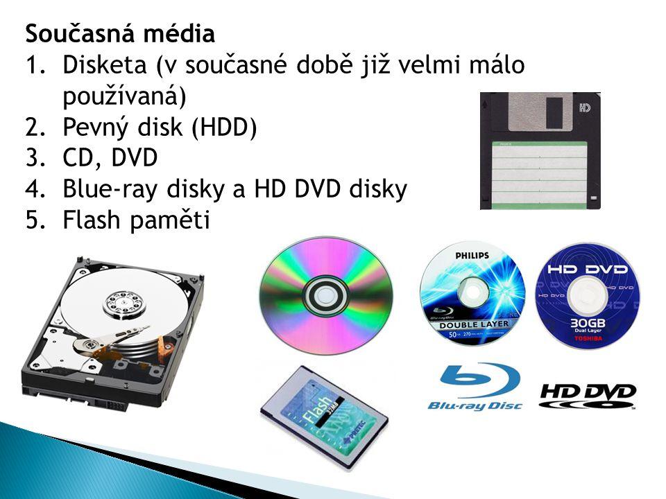 Současná média 1.Disketa (v současné době již velmi málo používaná) 2.Pevný disk (HDD) 3.CD, DVD 4.Blue-ray disky a HD DVD disky 5.Flash paměti