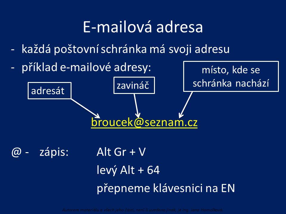 E-mailová adresa -každá poštovní schránka má svoji adresu -příklad e-mailové adresy: broucek@seznam.cz @ -zápis: Alt Gr + V levý Alt + 64 přepneme klá