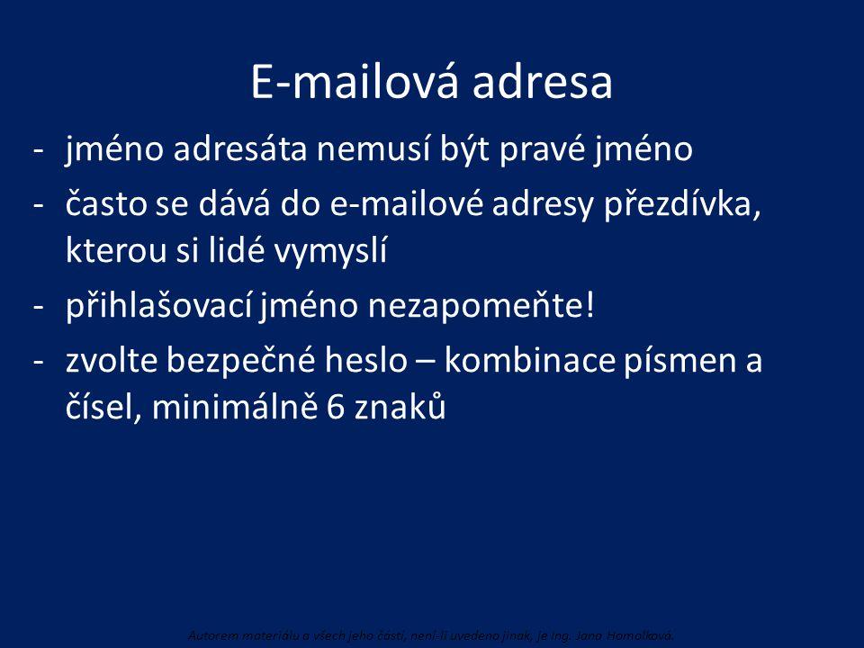 E-mailová adresa -jméno adresáta nemusí být pravé jméno -často se dává do e-mailové adresy přezdívka, kterou si lidé vymyslí -přihlašovací jméno nezap