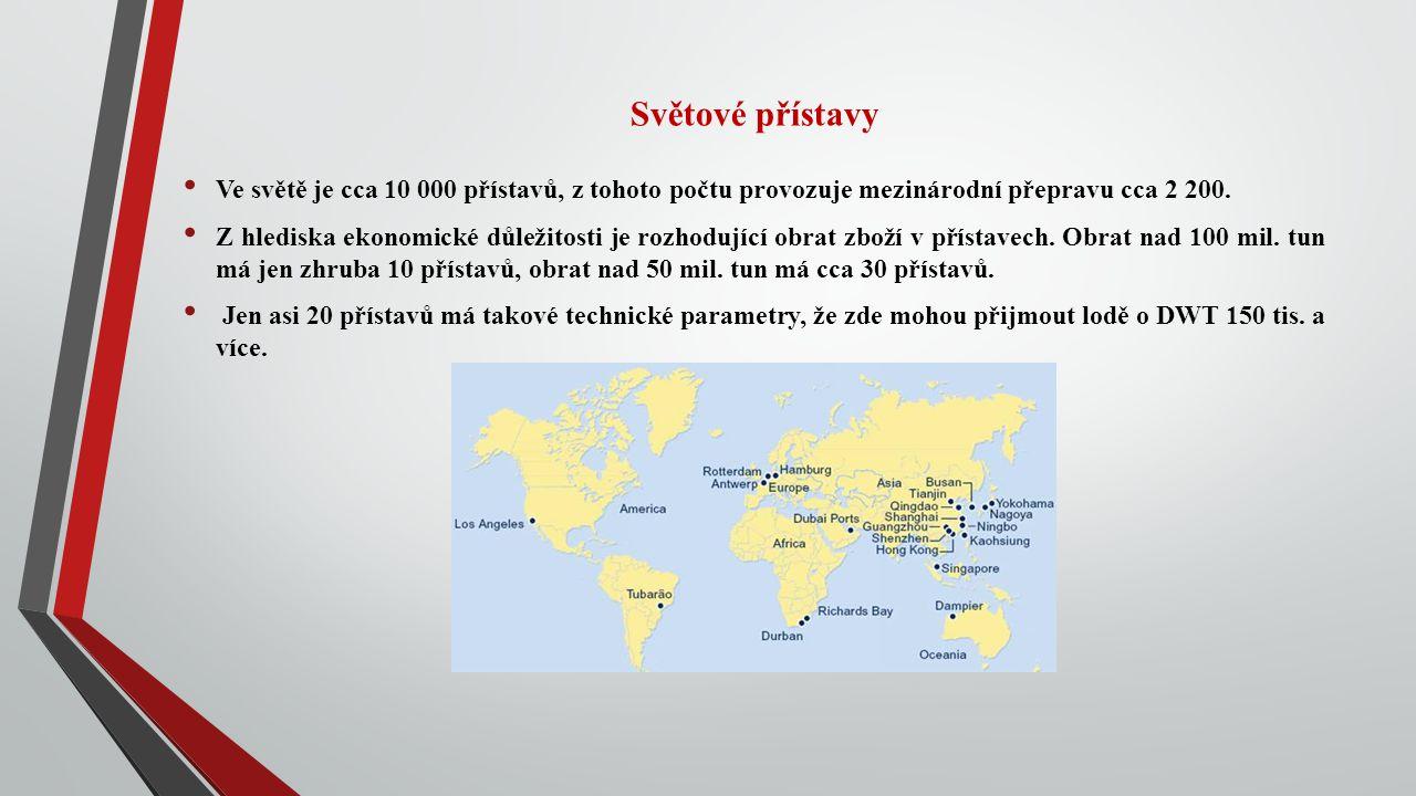 Světové přístavy Ve světě je cca 10 000 přístavů, z tohoto počtu provozuje mezinárodní přepravu cca 2 200.