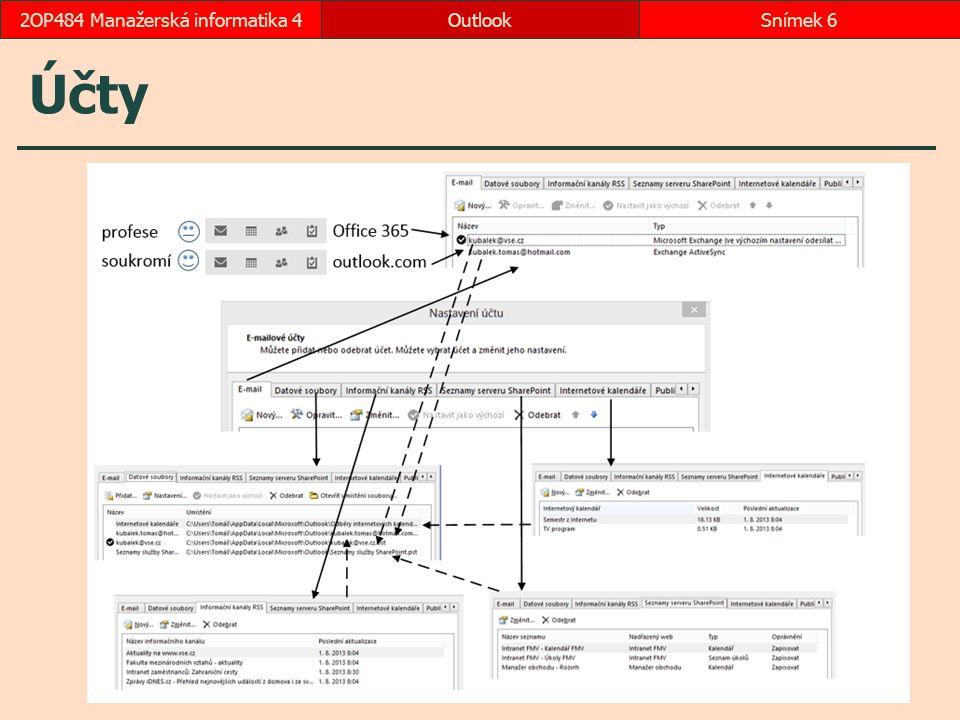 2.4 Adresát zprávy přesný název adresy (Komu, Kopie, Skrytá) oddělovačem více adres středník, čárka či mezerník (transformovány na středník) jméno či neplné jméno (doplnění dle Active Directory nebo dle osobních kontaktů) výběr z adresáře (kliknutím do tlačítka Komu) Offline Global Adress List: synchronizace s AD jednou denně ve složce Users\Uživatel\AppData\Local\Microsoft\Outlook\Offline Adress Books – soubor s příponou oab  okamžitá aktualizace: Soubor, Nastavení účtu, Stáhnout adresář Globální adresář (GAL): AD z Internetu Kontakty: hledání v Lidech dle účtů LinkedIn: kontakty ze sociální sítě LinkedIn Případné další vlastní složky kontaktů All Contacts: externí kontakty v Office 365 All Groups: distribuční skupiny Office 365 All Rooms: místnosti Office 365 OutlookSnímek 172OP484 Manažerská informatika 4