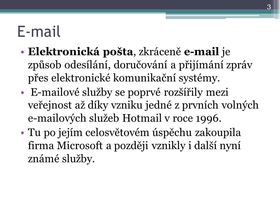 E-mail Elektronická pošta, zkráceně e-mail je způsob odesílání, doručování a přijímání zpráv přes elektronické komunikační systémy. E-mailové služby s