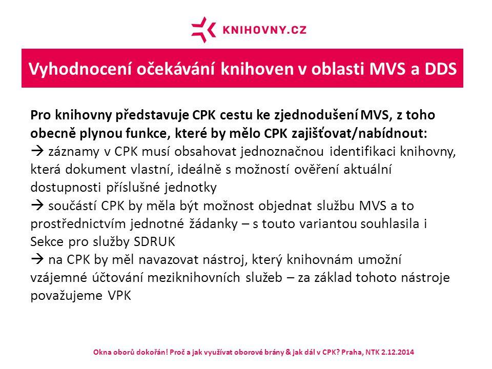 Vyhodnocení očekávání knihoven v oblasti MVS a DDS Pro knihovny představuje CPK cestu ke zjednodušení MVS, z toho obecně plynou funkce, které by mělo