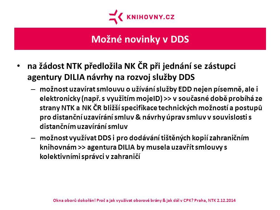Možné novinky v DDS na žádost NTK předložila NK ČR při jednání se zástupci agentury DILIA návrhy na rozvoj služby DDS – možnost uzavírat smlouvu o uží