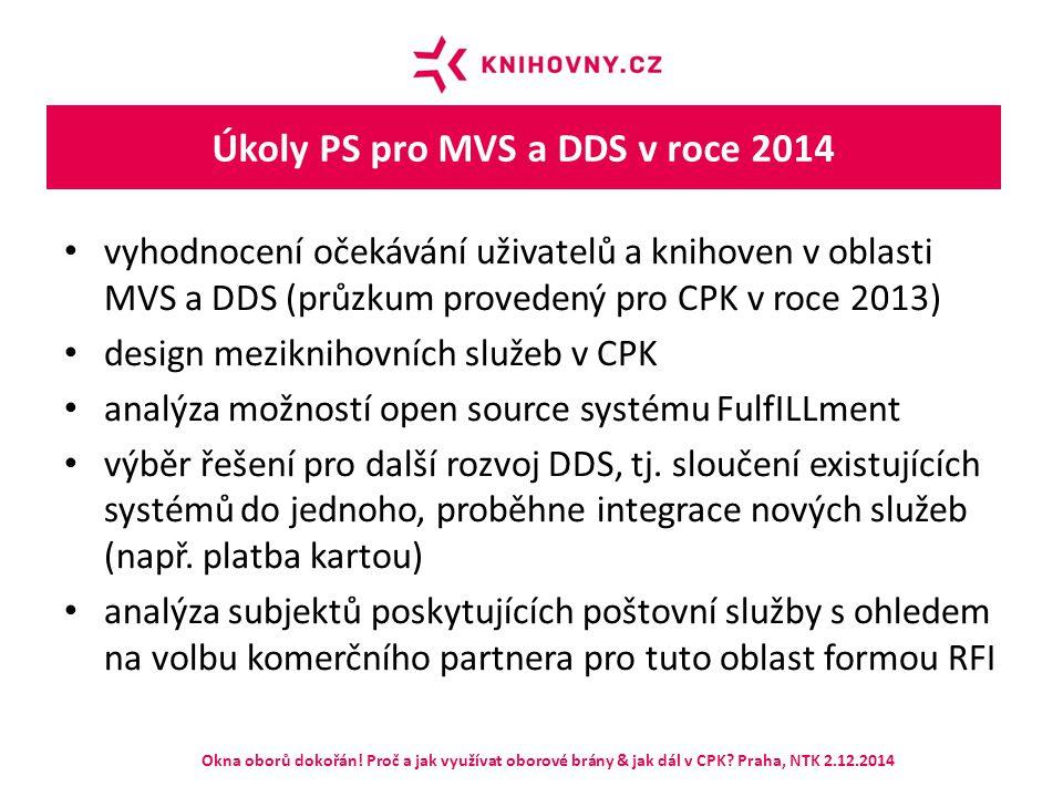 Úkoly PS pro MVS a DDS v roce 2014 vyhodnocení očekávání uživatelů a knihoven v oblasti MVS a DDS (průzkum provedený pro CPK v roce 2013) design mezik