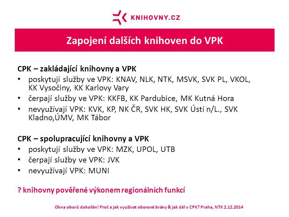 Zapojení dalších knihoven do VPK CPK – zakládající knihovny a VPK poskytují služby ve VPK: KNAV, NLK, NTK, MSVK, SVK PL, VKOL, KK Vysočiny, KK Karlovy