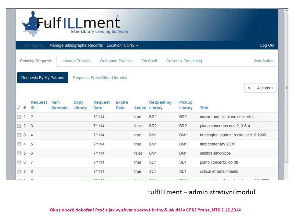 FulfILLment – administrativní modul