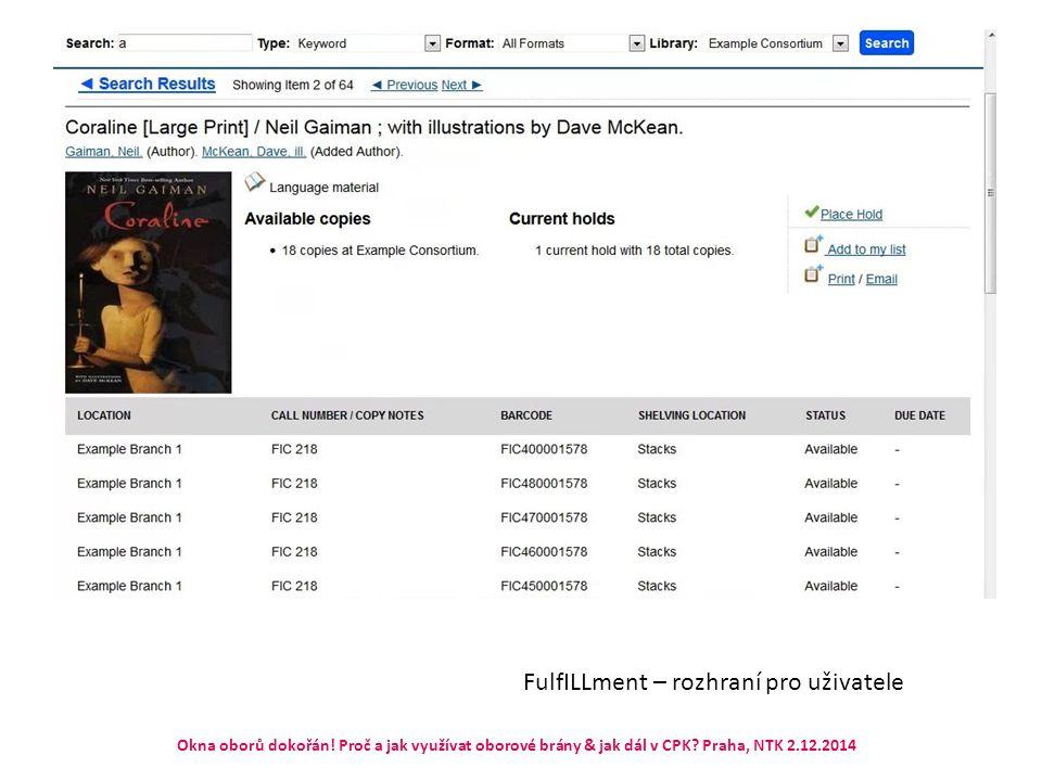 FulfILLment – rozhraní pro uživatele Okna oborů dokořán! Proč a jak využívat oborové brány & jak dál v CPK? Praha, NTK 2.12.2014