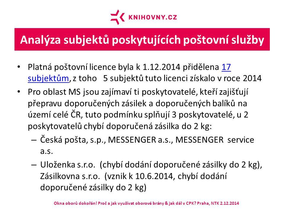 Analýza subjektů poskytujících poštovní služby Platná poštovní licence byla k 1.12.2014 přidělena 17 subjektům, z toho 5 subjektů tuto licenci získalo