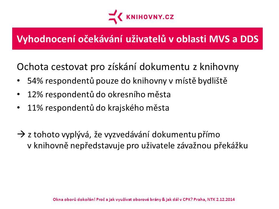 Vyhodnocení očekávání uživatelů v oblasti MVS a DDS Ochota cestovat pro získání dokumentu z knihovny 54% respondentů pouze do knihovny v místě bydlišt