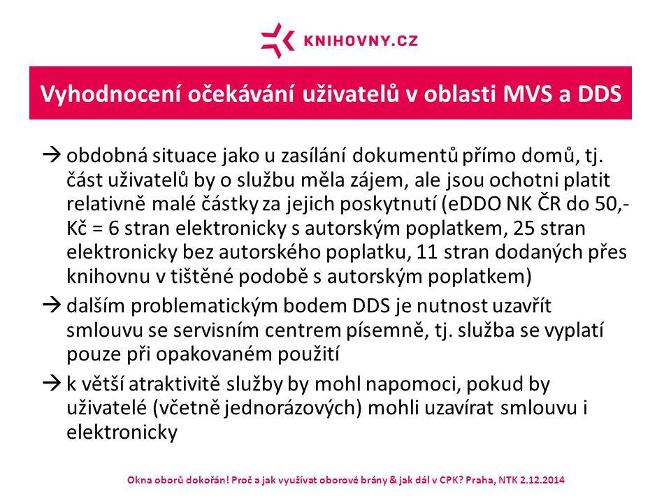 Vyhodnocení očekávání uživatelů v oblasti MVS a DDS  obdobná situace jako u zasílání dokumentů přímo domů, tj. část uživatelů by o službu měla zájem,